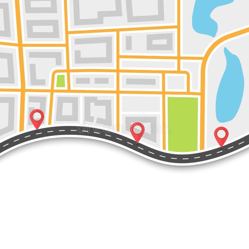 Vägtur och resarutt Slingrig väg på översiktsbakgrunden med Pin Pointers Abstrakt GPS navigeringbaner 10 eps royaltyfri illustrationer