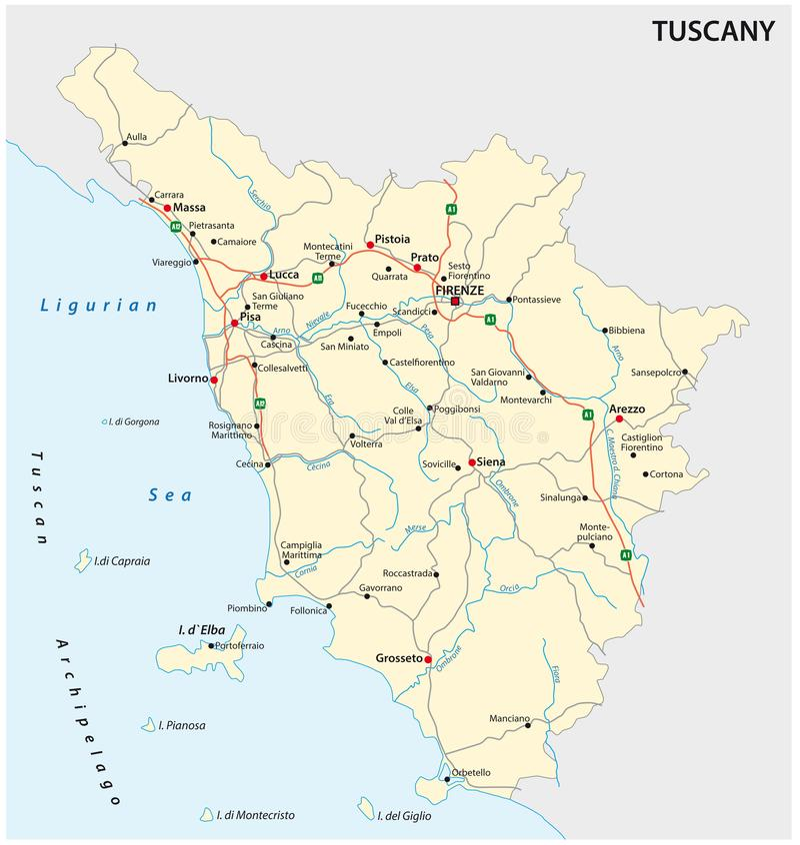 Vägvektoröversikt av den italienska regionen Tuscany vektor illustrationer