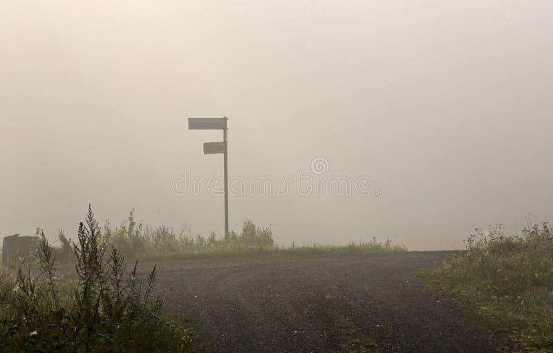 Vägvisare på dimmiga tvärgator i en morgon royaltyfri foto