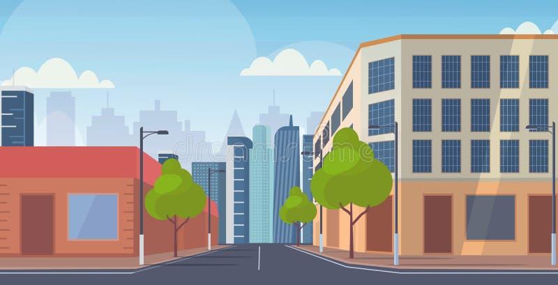 Vägvisning av gatuskyskrapor i stadsmiljö tom på folk i stadsmiljö, horisontell bakgrund royaltyfri illustrationer