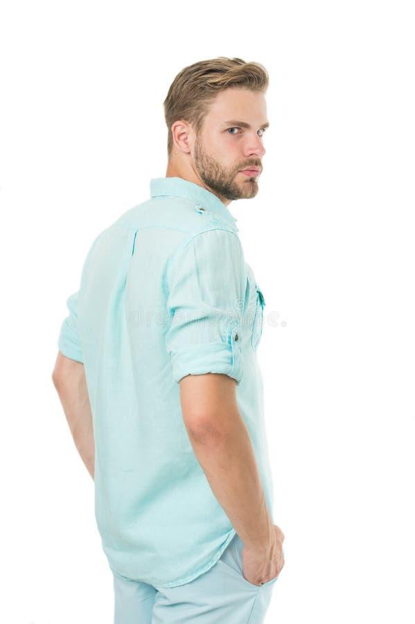 Väl ansad stilig man isolerad vit bakgrund sk?ggig man mode shoppar Man med stilfullt h?r och sund hud royaltyfri bild