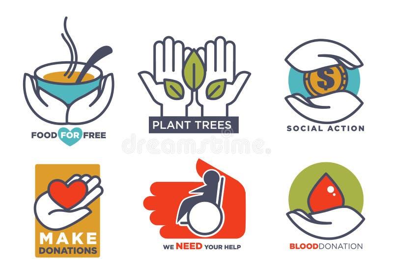 Välgörenhet, blod eller donation eller medicinskt och ställa upp som frivillig service eller omsorgdesign royaltyfri illustrationer