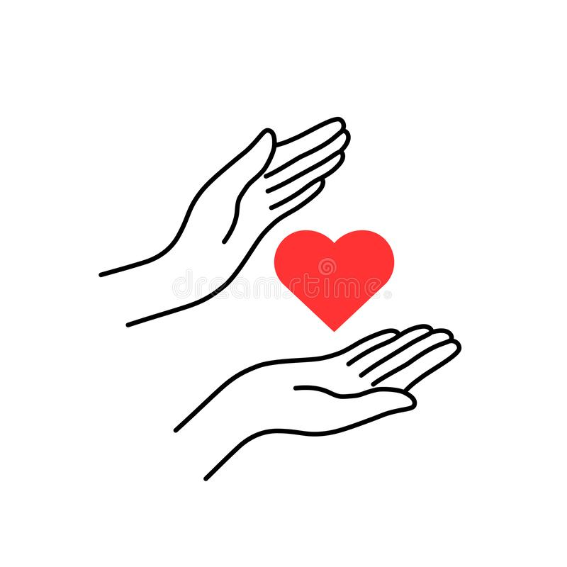 Välgörenhet eller donation med linjära kvinnahänder vektor illustrationer