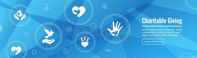 Välgörenhet och beredskapsarbete - medmänskligt geende rengöringsdukbaner med symbolen stock illustrationer