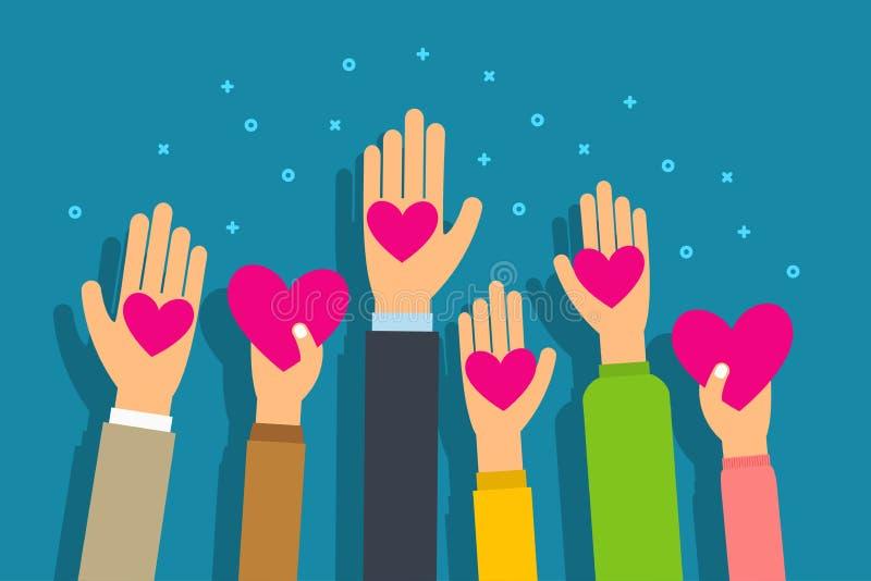 Välgörenhet- och donationbegrepp Folket ger hjärtor gömma i handflatan in handen Plan stilvektor royaltyfri illustrationer