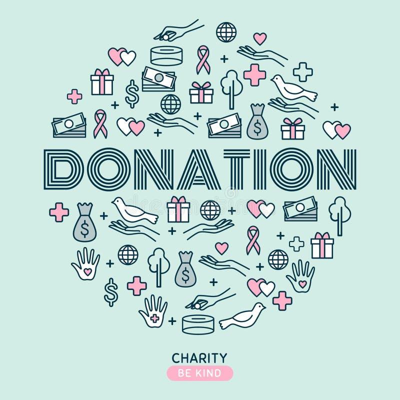 Välgörenhet och donationer Ställ in med den tunna linjen symboler Vektor Illustratio royaltyfri illustrationer
