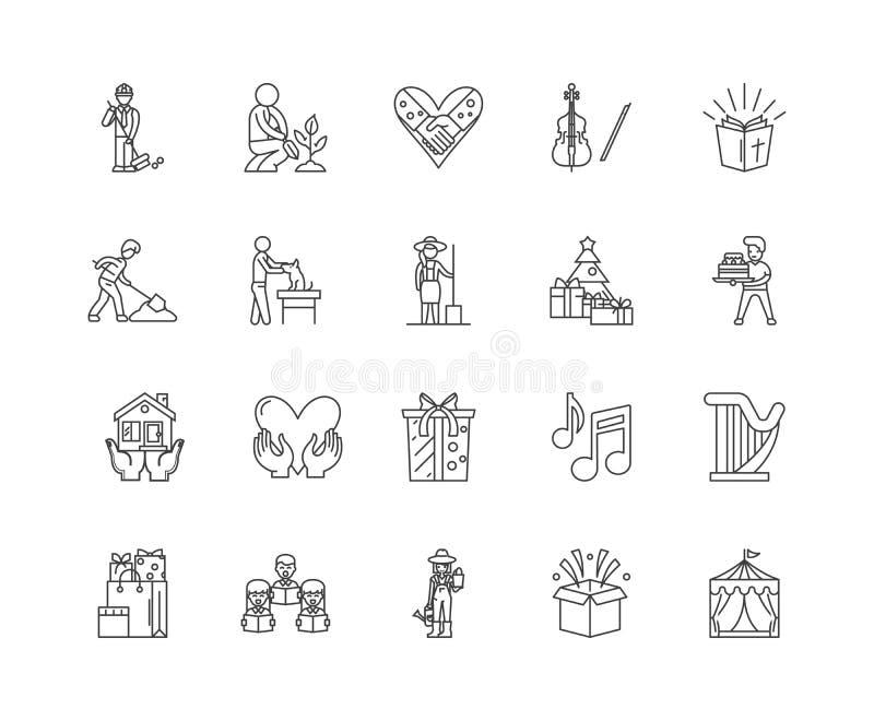 Välgörenheter fodrar symboler, tecken, vektoruppsättningen, översiktsillustrationbegrepp vektor illustrationer
