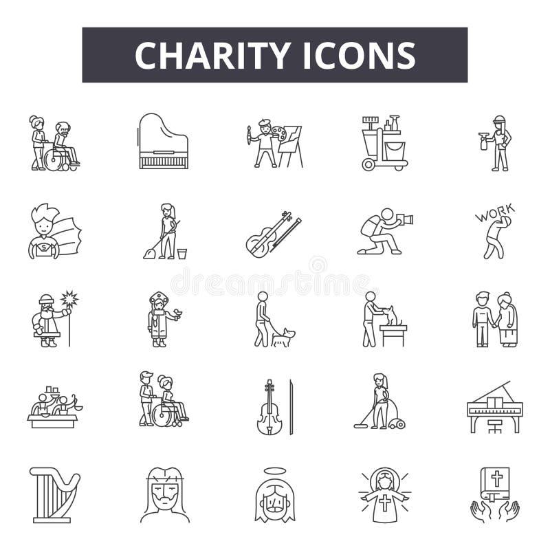 Välgörenhetlinje symboler, tecken, vektoruppsättning, översiktsillustrationbegrepp royaltyfri illustrationer