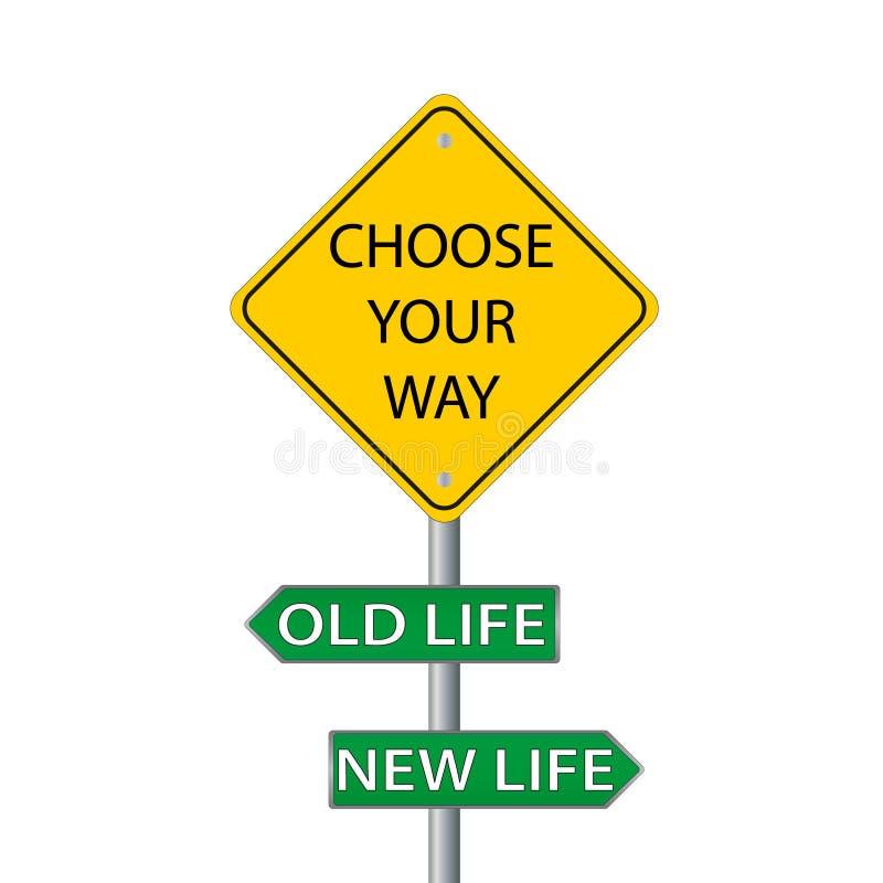 Välj ditt gamla eller nya liv för vägen, stock illustrationer