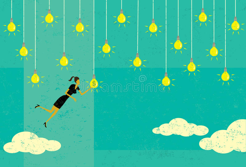 Välja en lönande idé stock illustrationer