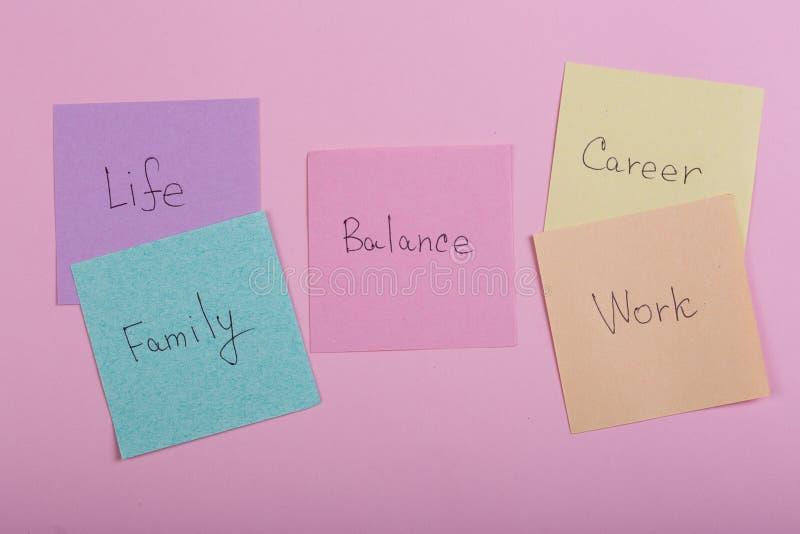Välja familjen eller karriärbegrepp - färgrika klibbiga anmärkningar med ord balanserar, arbete, karriären, familjen, liv royaltyfri bild