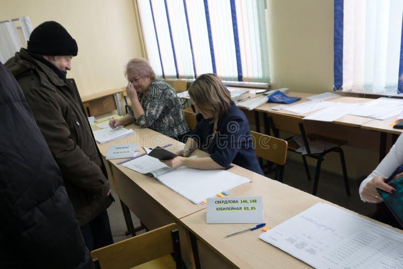 Väljarregistrering för presidentval i Ryssland-mars 18, 2018 arkivbild
