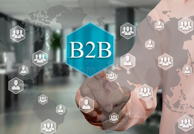 väljer B2B, affär till affären på pekskärmen med en suddighetskontorsbakgrund vektor illustrationer