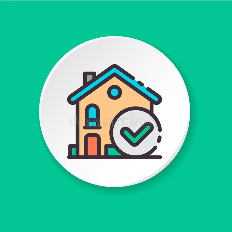 Väljer den plana symbolen för vektorn huset Reservation bekräftar Knapp för rengöringsduken eller mobilen app UI-/UXanvändargräns stock illustrationer