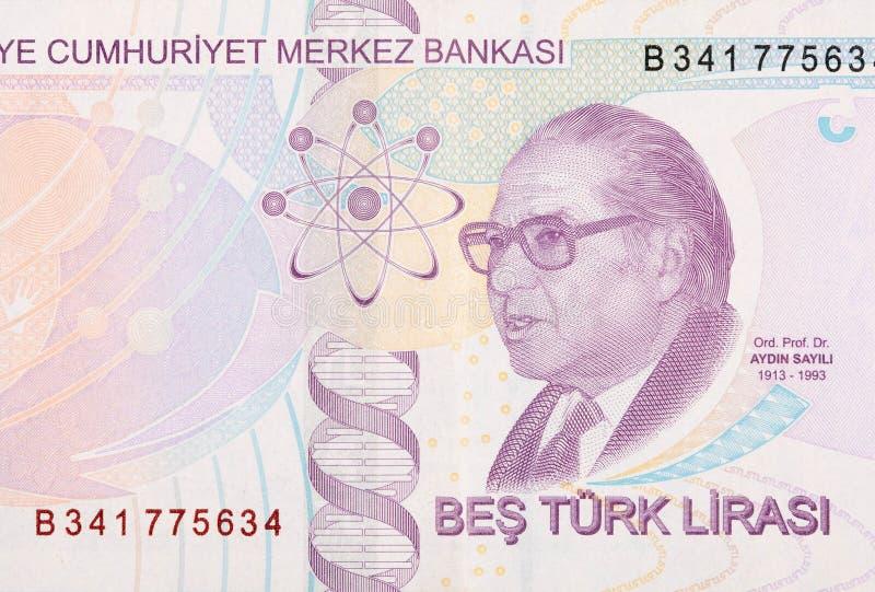 Välkänd historiker för vetenskapen Aydin Sayili Portrait från Turkiet 5 Lira 2009 royaltyfria bilder