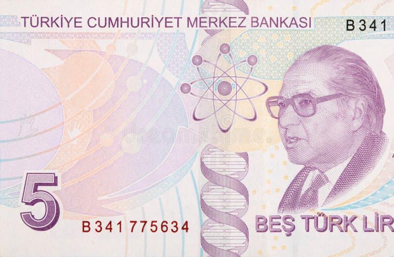Välkänd historiker för vetenskapen Aydin Sayili Portrait från Turkiet 5 Lira 2009 arkivbild