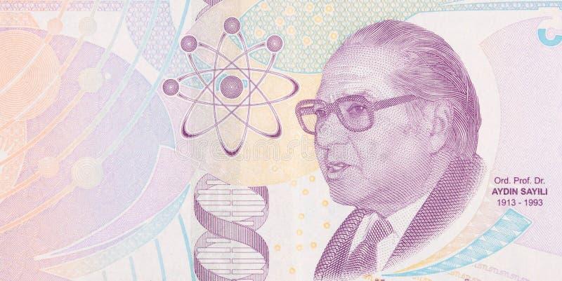 Välkänd historiker för vetenskapen Aydin Sayili Portrait från Turkiet 5 Lira 2009 arkivfoto