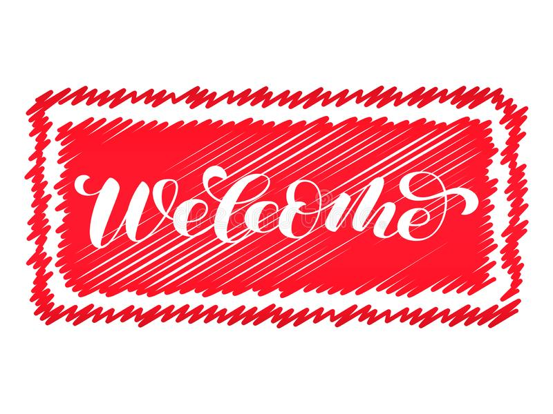 Välkommen borstebokstäver på en röd stämpel Vektorillustration för garnering stock illustrationer