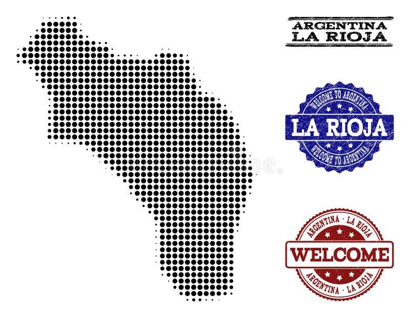 Välkommen collage av den rastrerade översikten av Argentina - La Rioja och Grungestämplar vektor illustrationer