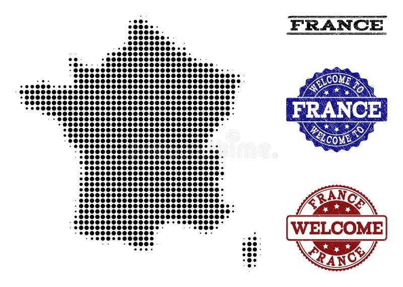 Välkommen collage av den rastrerade översikten av Frankrike och texturerade skyddsremsor royaltyfri illustrationer