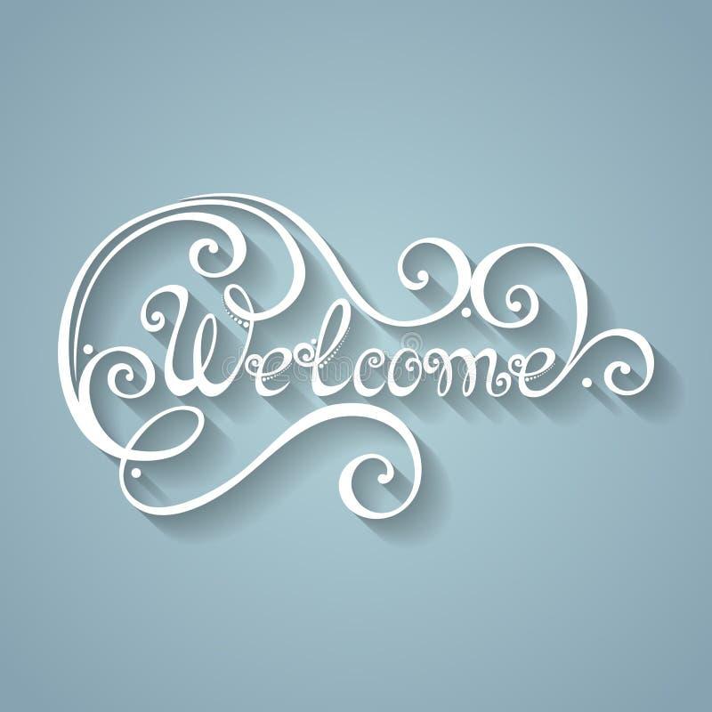 Välkommen inskrift för vektor Hand dragen bokstäver vektor illustrationer