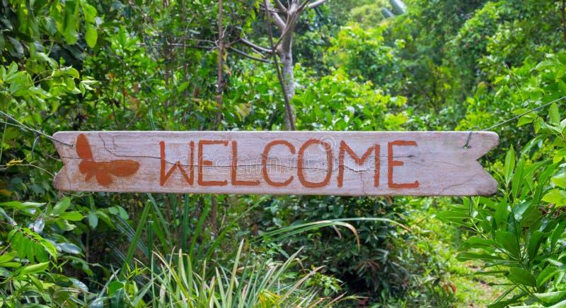 Välkommen inskrift vid röd målarfärg på träbrädet, grön tropisk trädgårds- bakgrund royaltyfri bild
