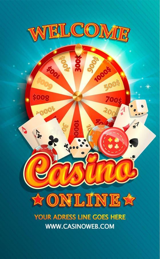 Välkommen reklamblad för kasino direktanslutet royaltyfri illustrationer