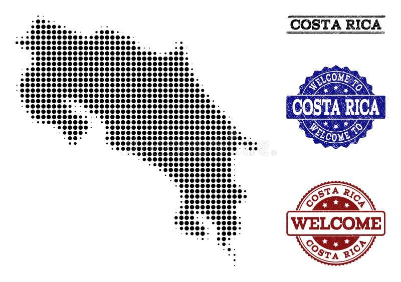 Välkommen sammansättning av den rastrerade översikten av Costa Rica och nödlägestämplar royaltyfri illustrationer
