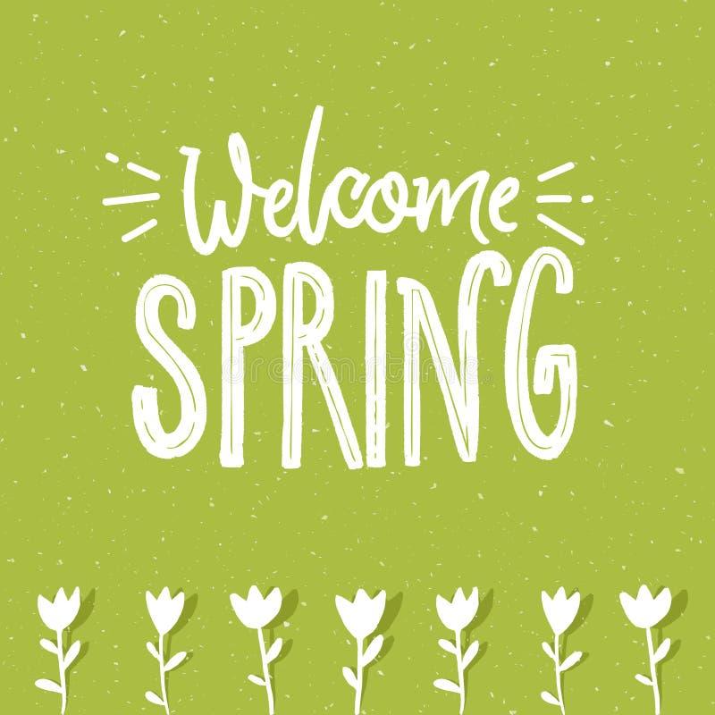 Välkommen vårtext på gräsplan texturerad bakgrund och handen dragen tulpan blommar illustration för bland för grabb för bildrevek stock illustrationer