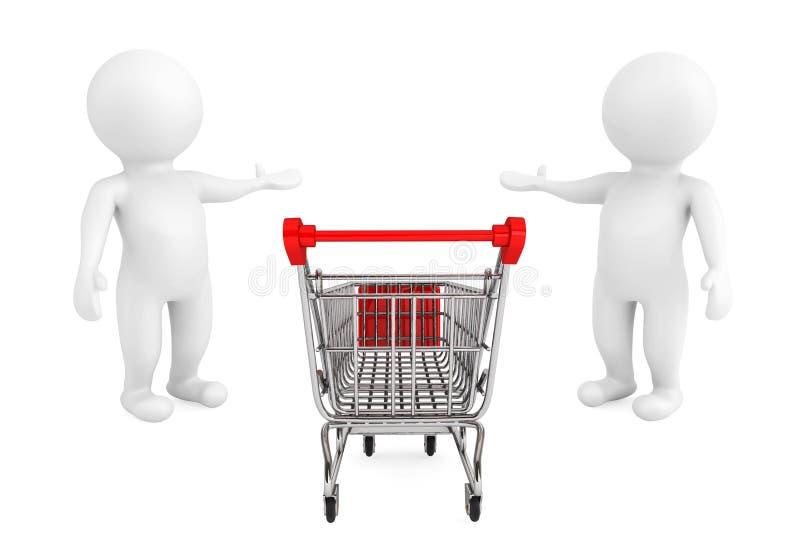 Välkommet begrepp. Shoppingvagn med välkomnande och invit för personer 3d vektor illustrationer