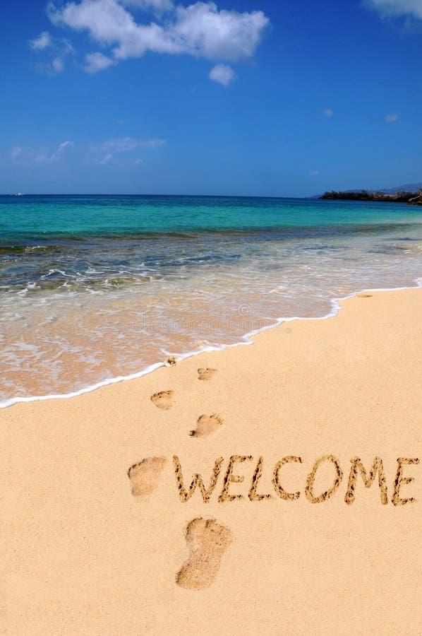 välkommet ord för strand arkivbilder