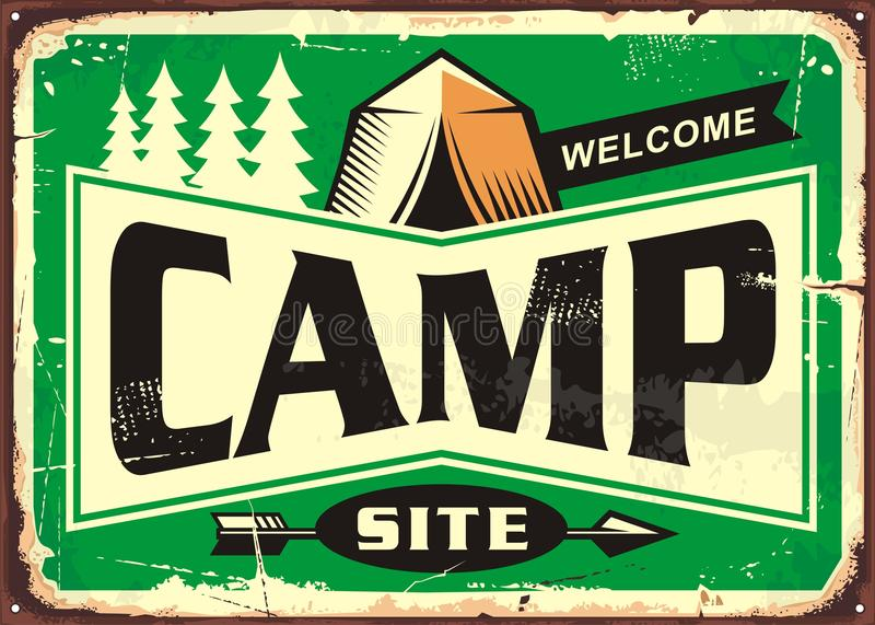 Välkommet tecken för campingplats royaltyfri illustrationer