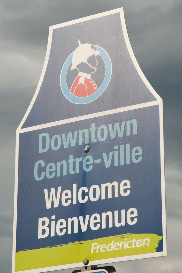 Välkommet tecken - Fredericton - Kanada arkivbild