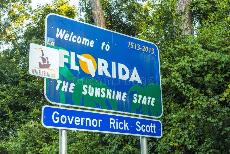 Välkommet tecken till tillståndet av Florida fotografering för bildbyråer