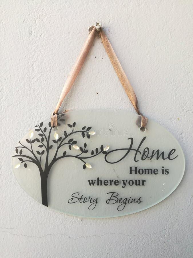 Välkomna det hem- tecknet arkivbild