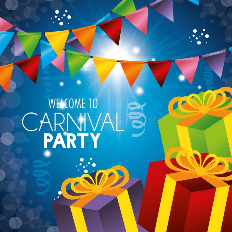 Välkomna konfettier för girlander för karnevalpartigåvor royaltyfri illustrationer