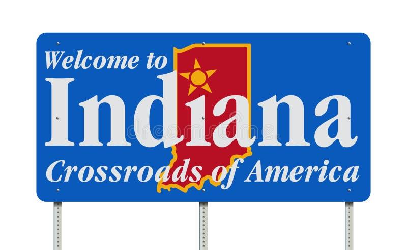 Välkomna till Indiana vägmärket stock illustrationer