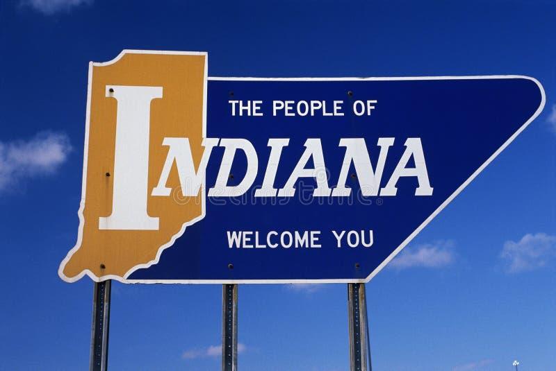 Välkomna till Indiana vägmärket royaltyfri foto