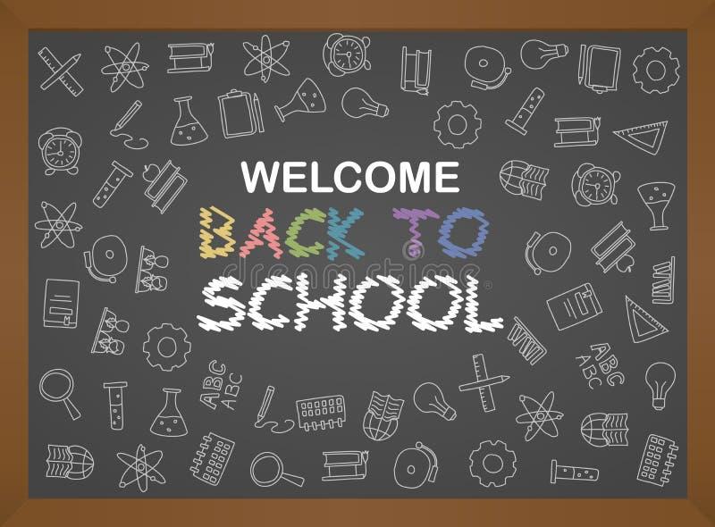 Välkomna tillbaka till skolaaffischen med klotter, godan för design för textiltyg, inpackningspapper och websitetapeter royaltyfri illustrationer