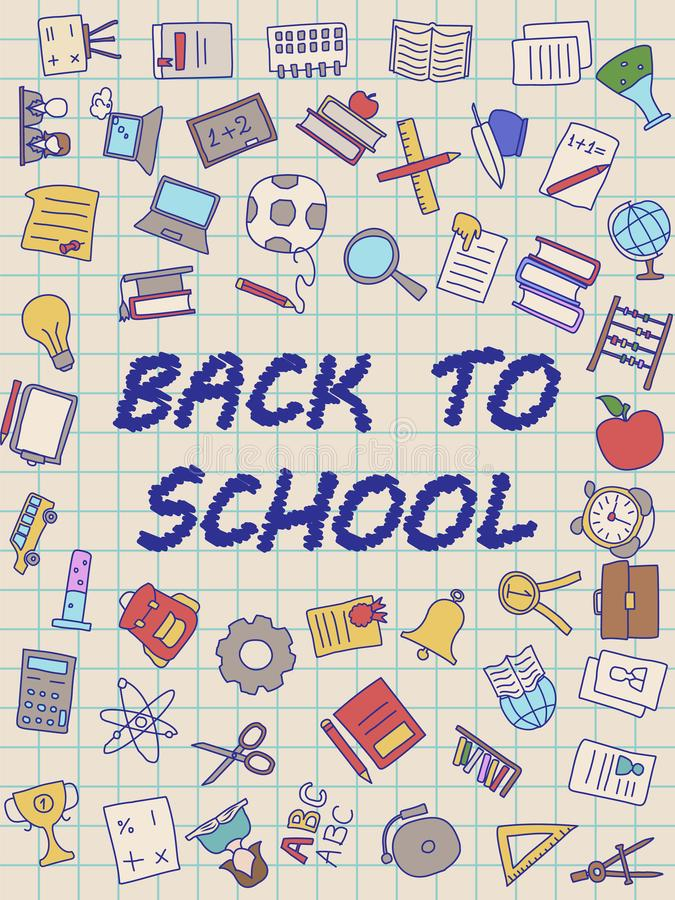 Välkomna tillbaka till skolaaffischen med klotter, godan för design för textiltyg, inpackningspapper och websitetapeter arkivfoton