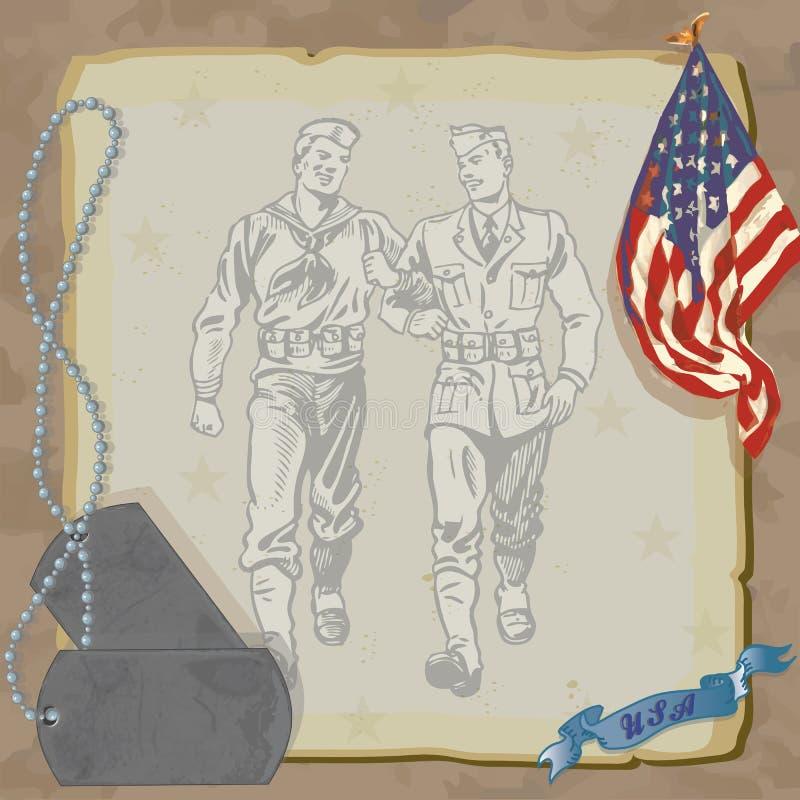 välkomnande för deltagare för home inbjudan för hjälte militär stock illustrationer