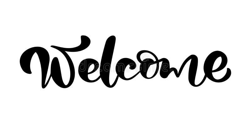 Välkomnande för text för bokstäver för kalligrafi för vektorhand utdragen Elegant modernt handskrivet citationsteckenbröllop Färg vektor illustrationer