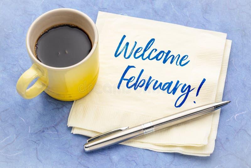 Välkomnande Februari på servett royaltyfri fotografi