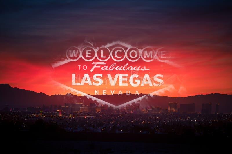 Välkomnande i det Las Vegas begreppet arkivfoton