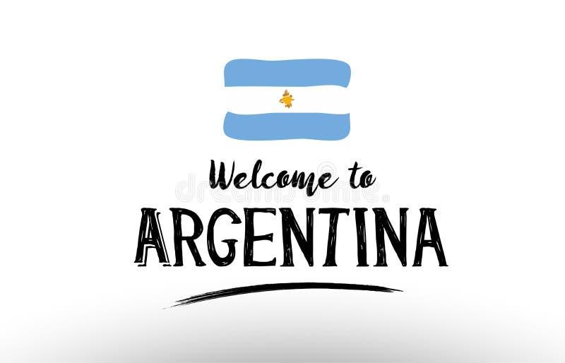 välkomnande till affischen för design för baner för kort för logo för Argentina landsflagga vektor illustrationer