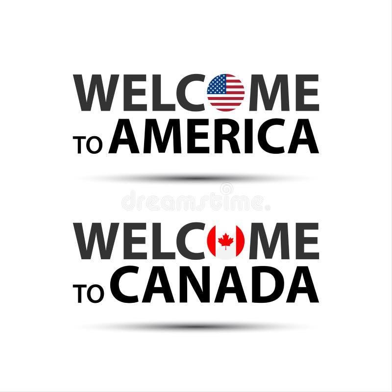 Välkomnande till Amerika, USA och välkomnandet till Kanada symboler med flaggor royaltyfri illustrationer