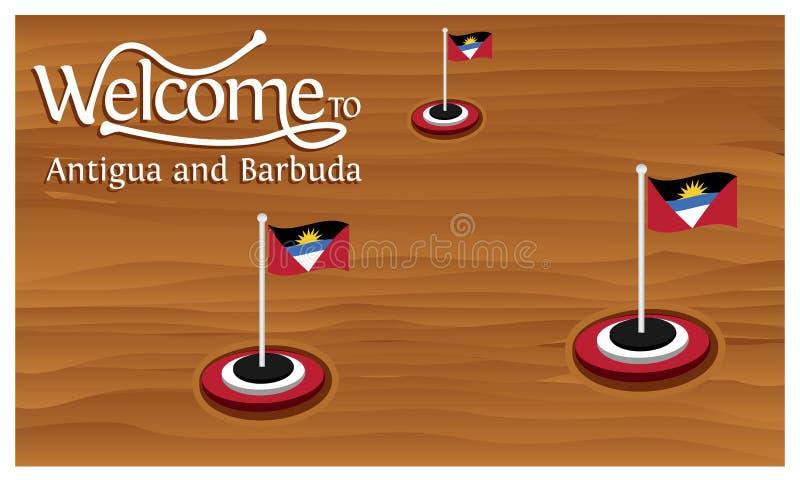 Välkomnande till Antigua och Barbudaaffischen med Antigua och Barbudaflaggan, tid att resa Antigua och Barbuda Vektorillustration royaltyfri illustrationer