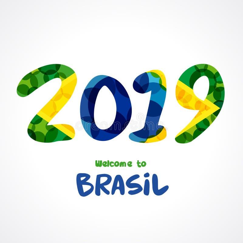 välkomnande 2019 till Brasilien nummer royaltyfri illustrationer