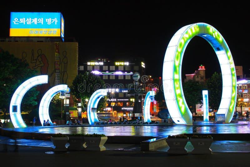 Välkomnande till Busan arkivbilder