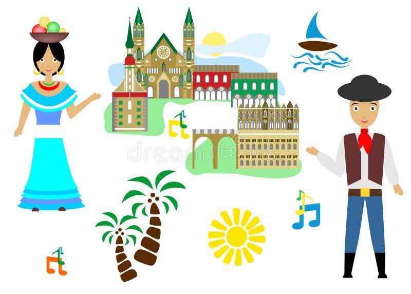 Välkomnande till Colombia royaltyfri illustrationer